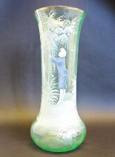 "Rare Antique 12"" Mary Gregory Art Glass Vase w/ Coralene  c. 1900"