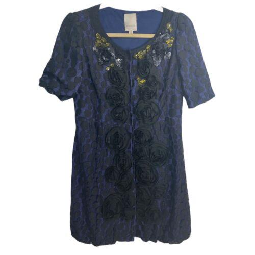 Moiselle Dress Designer Button Down Black Blue Lac
