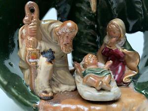 Nativity Scene Ceramic Palm Tree Star Votive Candle Holder 7.75