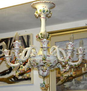 Lampadario Ceramica Di Bassano.Antico Lampadario Ceramica Bassano Dipinto Epoca 900 Old Porcelain