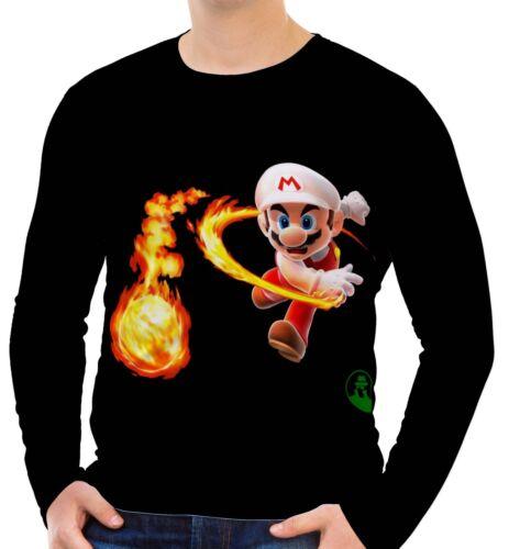 Super Mario Mens Long Sleeve T-Shirt Tee Size S M L XL 2XL 3XL