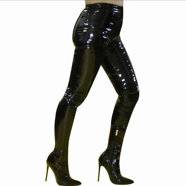 garantito nero Donna  Patent leather Riding stivali Pants Casual Casual Casual Stiletto Heel Zip scarpe  più preferenziale
