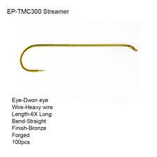 50 size 10 Streamer 6X Long Heavy Wire Bronze Down-Eye Hook Fly Tying Hooks QTY