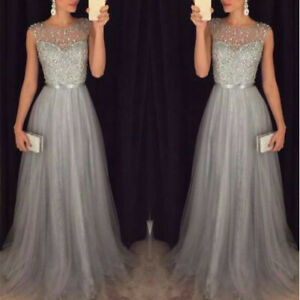 Women Long Dress Ball Cocktail Gown Formal Evening Prom Bridesmaid Party Wedding