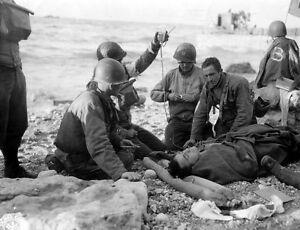 6x4-Gloss-Photo-ww83E-Normandy-D-Day-Omaha-Beach-Fox-Green-Soins