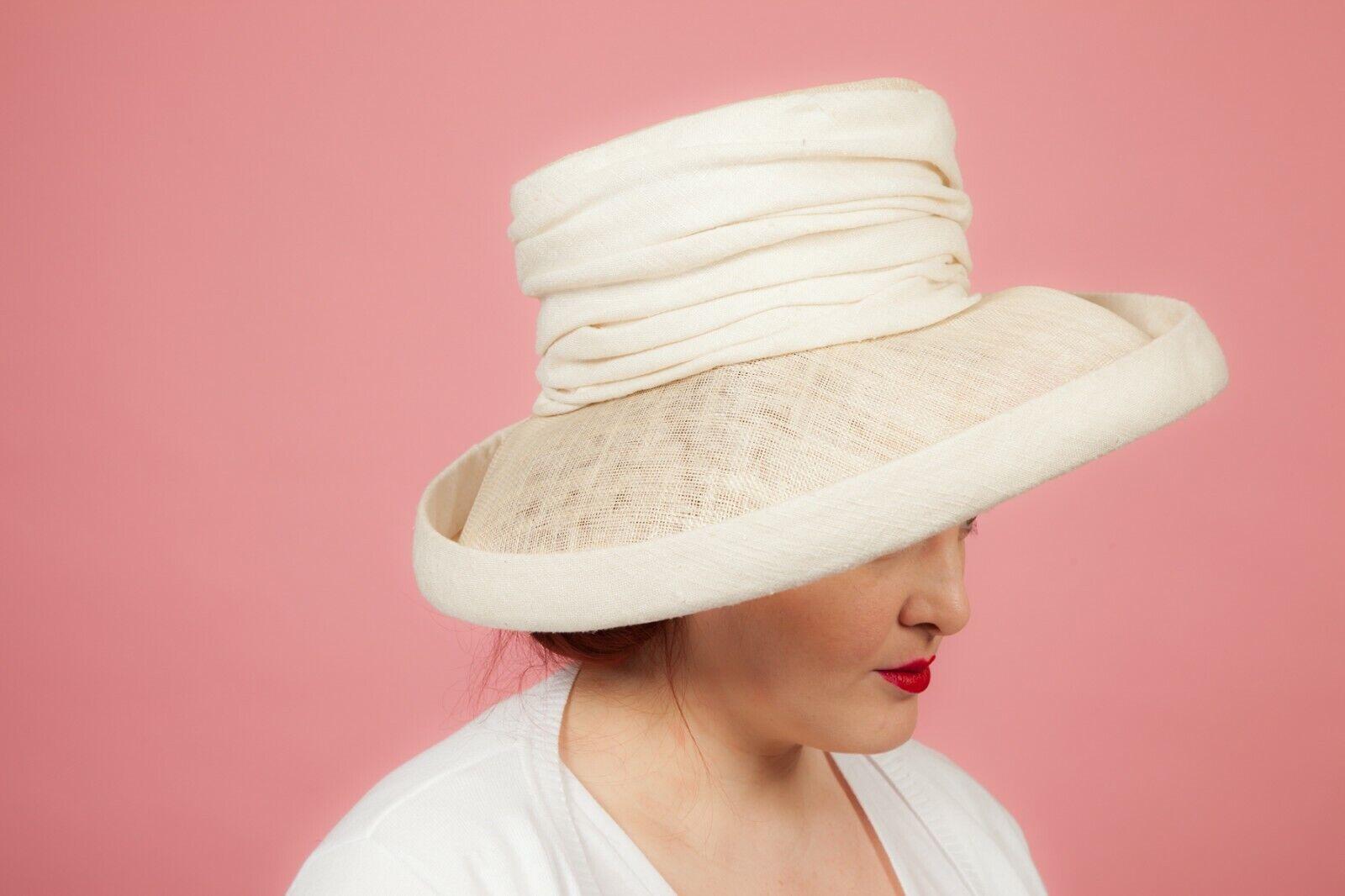 Ladies oversized white wide brim formal hat by Pamela Bromley