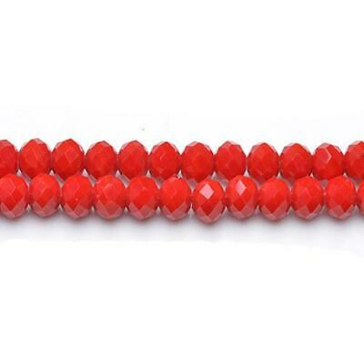 Czech Crystal Glass Faceted Rondelle Beads 6 x 8mm Dull Red 70 Pcs Art Hobby