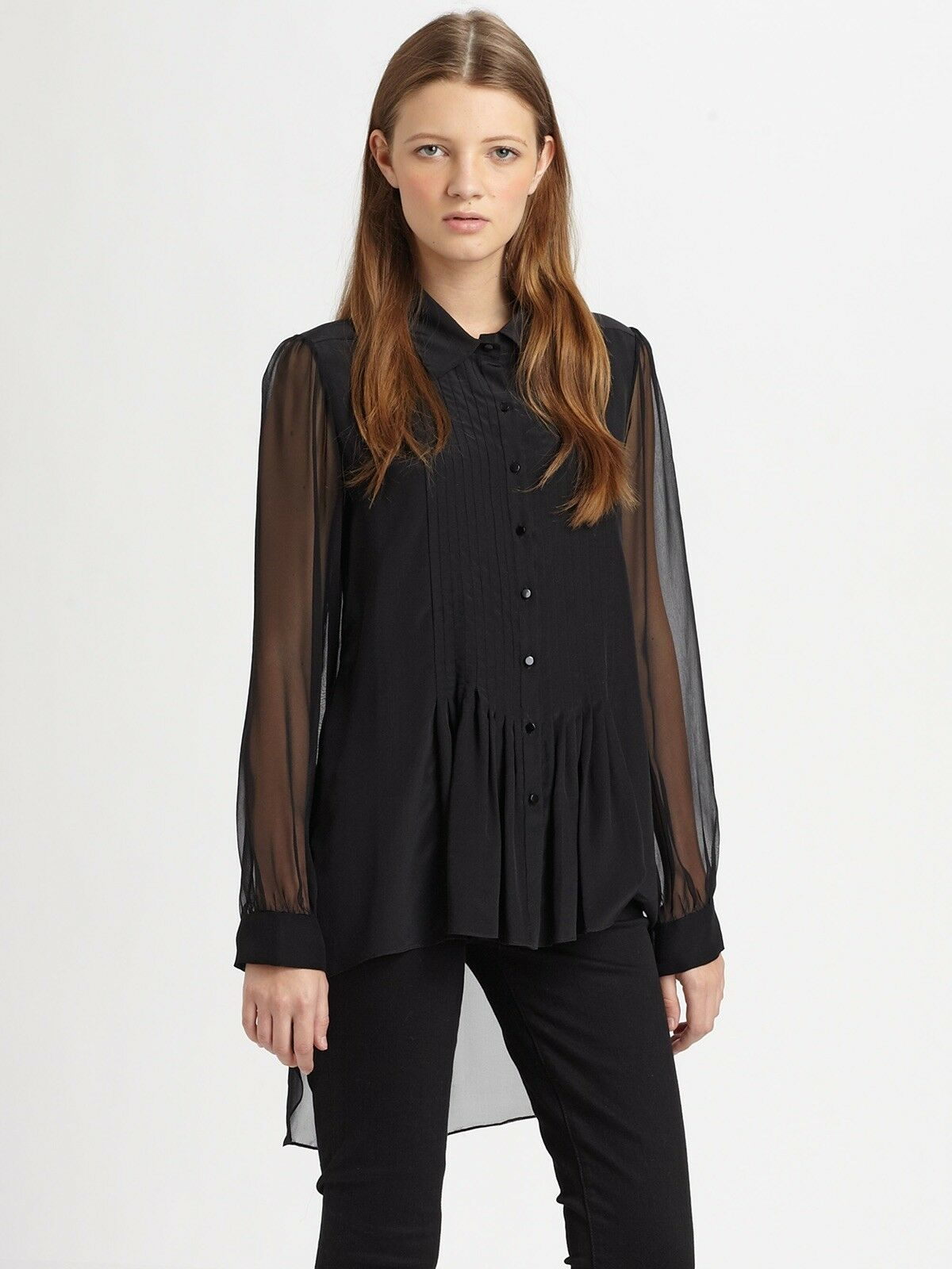 schwarz Elizabeth and James silk blouse with pointed collar Größe S