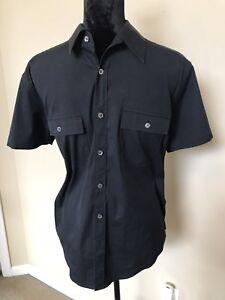 THEORY-Black-Stretch-Cotton-Short-Sleeve-size-m