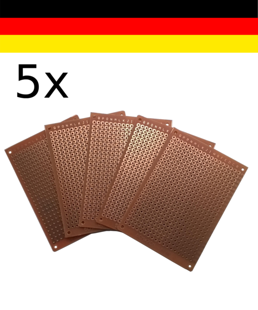 5x Lötplatine/Lochrasterplatine 50x70mm DIY Prototypen Leiterplatte Aufbau PCB