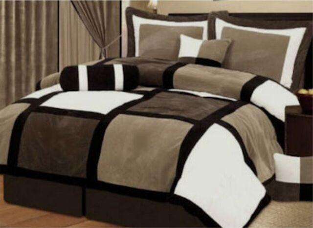 7 PCS  Black & Brown MicroSuede Patchwork Comforter Bedding Set Full Queen King