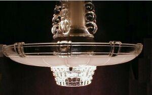 Art Deco Ceiling Light Light Fixture Large Glass Lamp Shade Antique Vtg 1920s