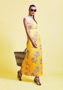 Olivia Rubin Yellow Dress Summer Summer Summer Party Designer Silk Dress size 10 6b17cc