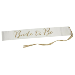 Talking Tables Bride To Be Luxe Gold Glitter Satin Sash