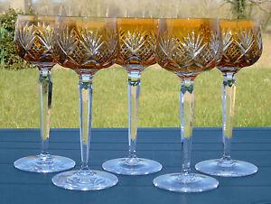 Val-Saint-Lambert-Lorraine-Lot-de-5-verres-a-vin-du-Rhin-en-cristal-double