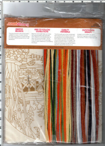 CHOICE CREWEL EMBROIDERY Needlework Kits by Bucilla • Elsa Williams • Sunset