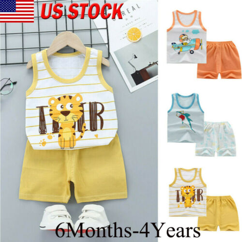 Details about  /Toddler Boys Baby Kids Summer Cartoon Vest Tops+Shorts Outfit Children Clothes