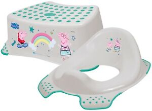 Peppa-Pig-Toddler-Non-Slip-Step-Stool-Toilet-Training-Seat-Combo-GREY-amp-GREEN