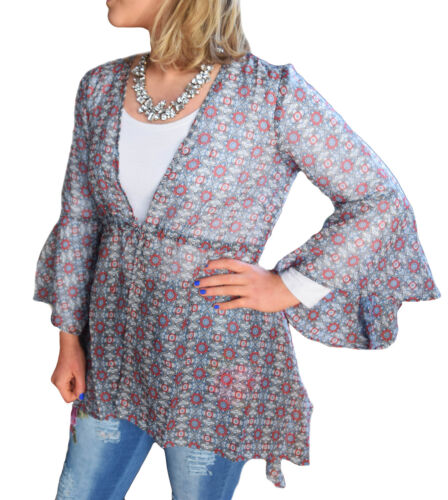 Uk Size 6-18 Ladies Navy Red Light Kimono Long Top Bell Sleeves