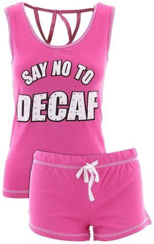Love Loungewear Junior/'s Say No To Decaf Shorty Pajamas 100/% Cotton Short PJs