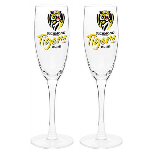 Richmond Tigers AFL Set of 2 Champagne Glass Glasses Flute Sparkling Wine Gift