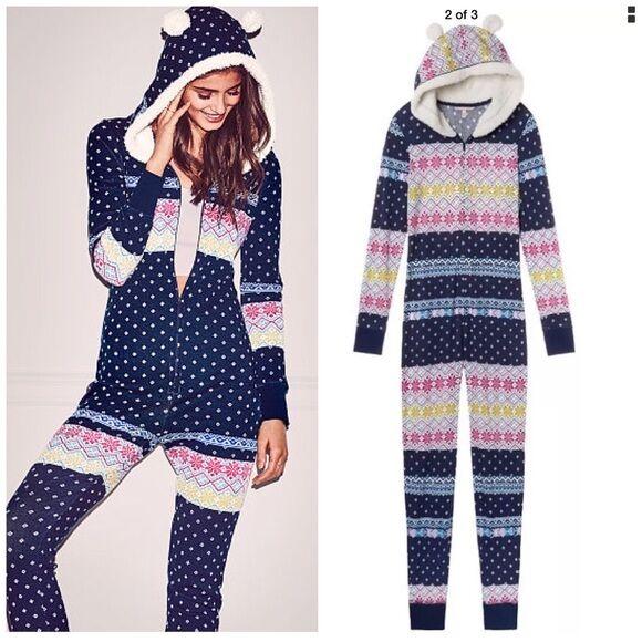 Nwt Victoria Secret Long Jane Fireside Fur Hooded One pie Sleep PJ WHITE