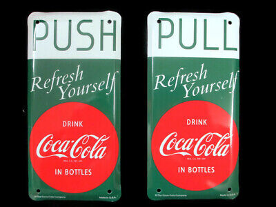Drink Coca-Cola Tin Push Pull Door Screen Door Plate Set of 2 USA Fish Tail