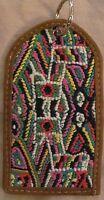 Unique Gorgeous Handmade Guatemala Huipil Leather Luggage Tag Multi-color