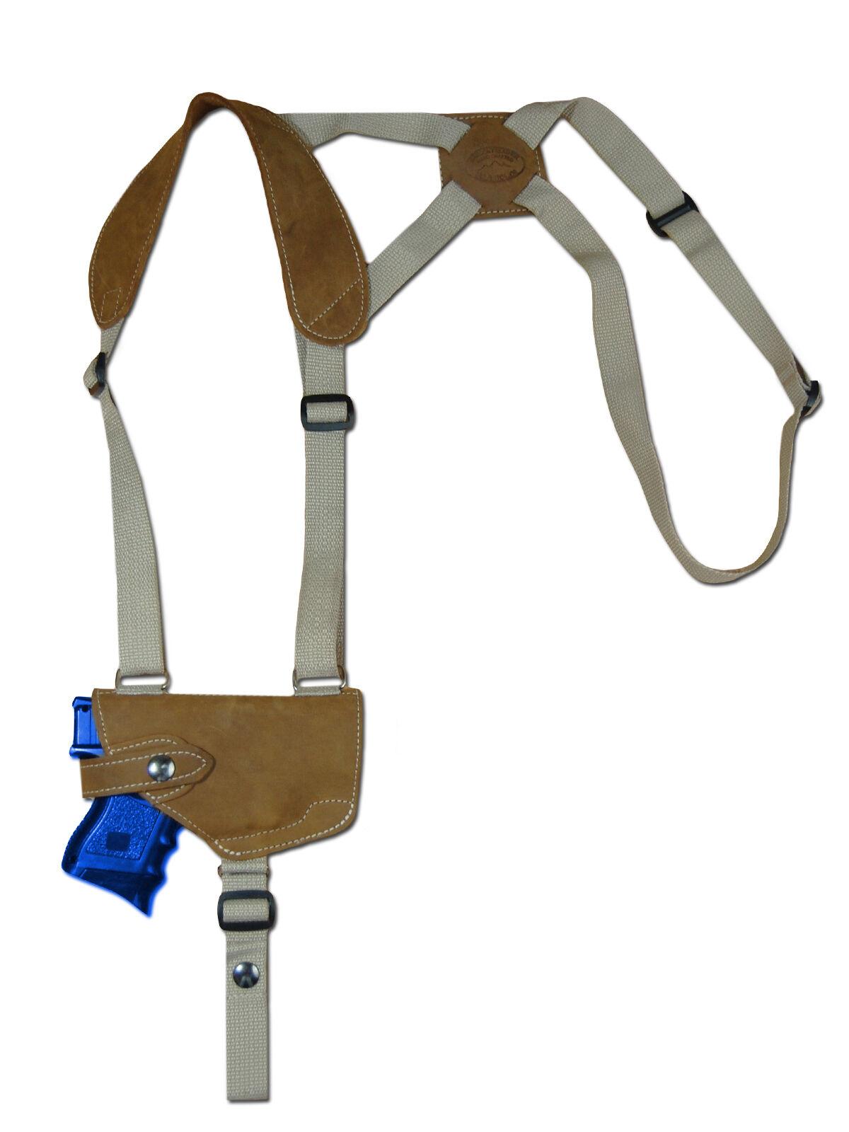 NEW Barsony Horizontal Olive Drab Leder Shoulder Holster CZ EAA Comp 9mm 40 45