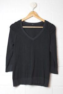 CUE-KNIT-Soft-Navy-Blue-Striped-Gathered-Shoulders-Knit-Top-Size-S-Size-4-6