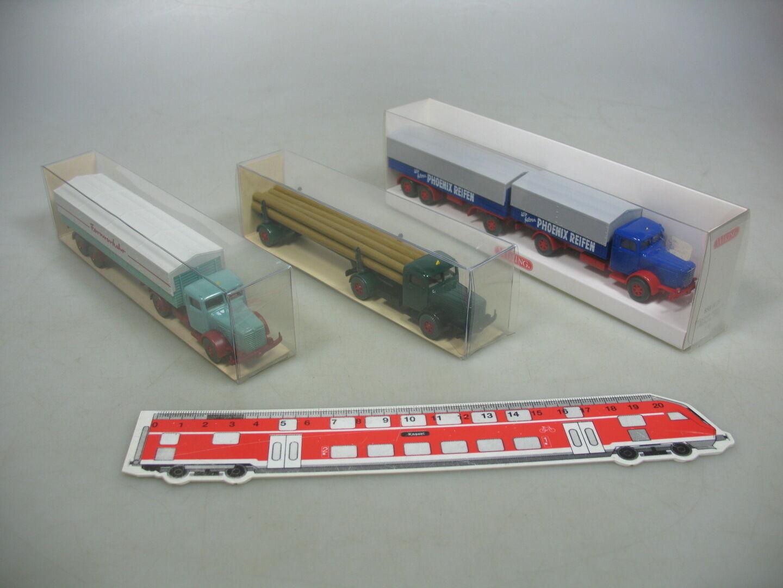 AI99-0, 5 x Wiking H0 Lorry   Log Transporter Büssing  858+890+3390, Mint