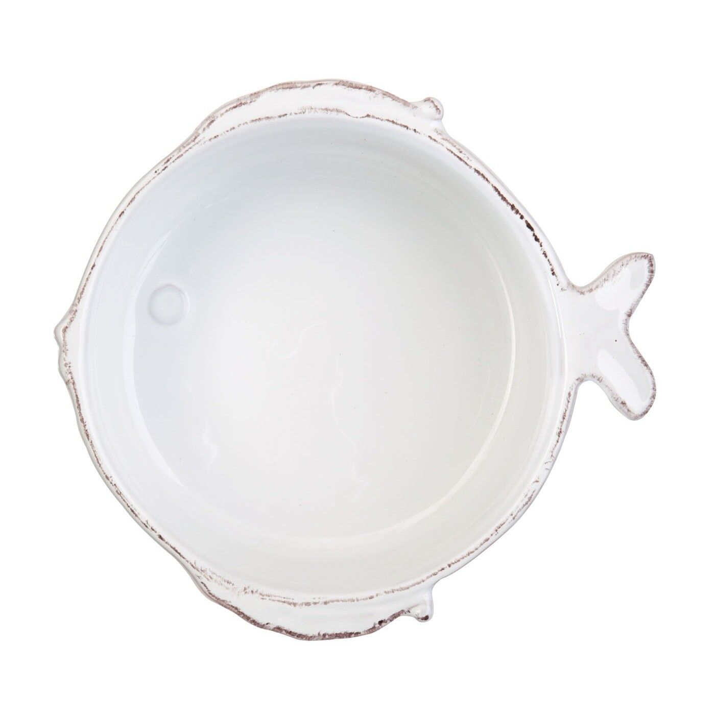 Vietri Lastra Fish Weiß Cereal Bowl - Set von 4
