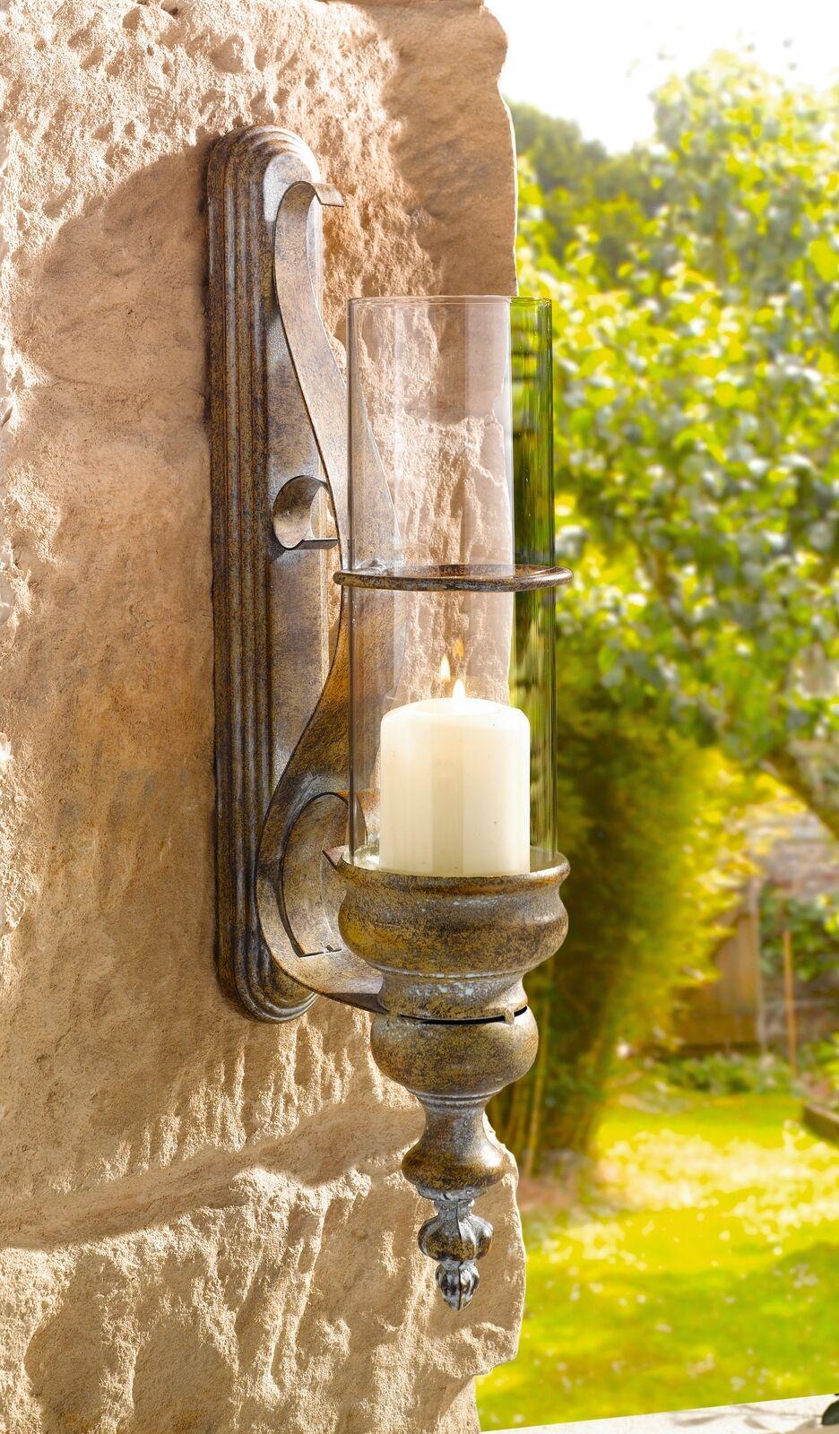 Metal European-style Wall Candle Lantern - 19 in Wall Metal Candle Lantern
