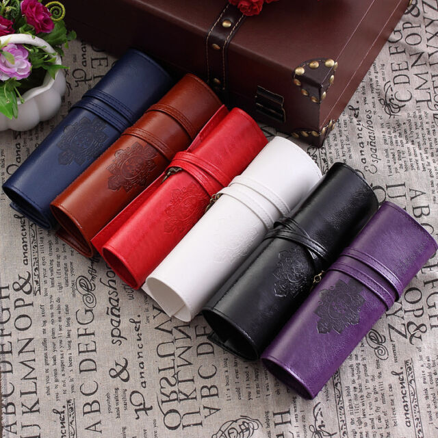 Hot Vintage Roll Leather Make Up Cosmetic Pen Pencil Case Pouch Purse Bag Box