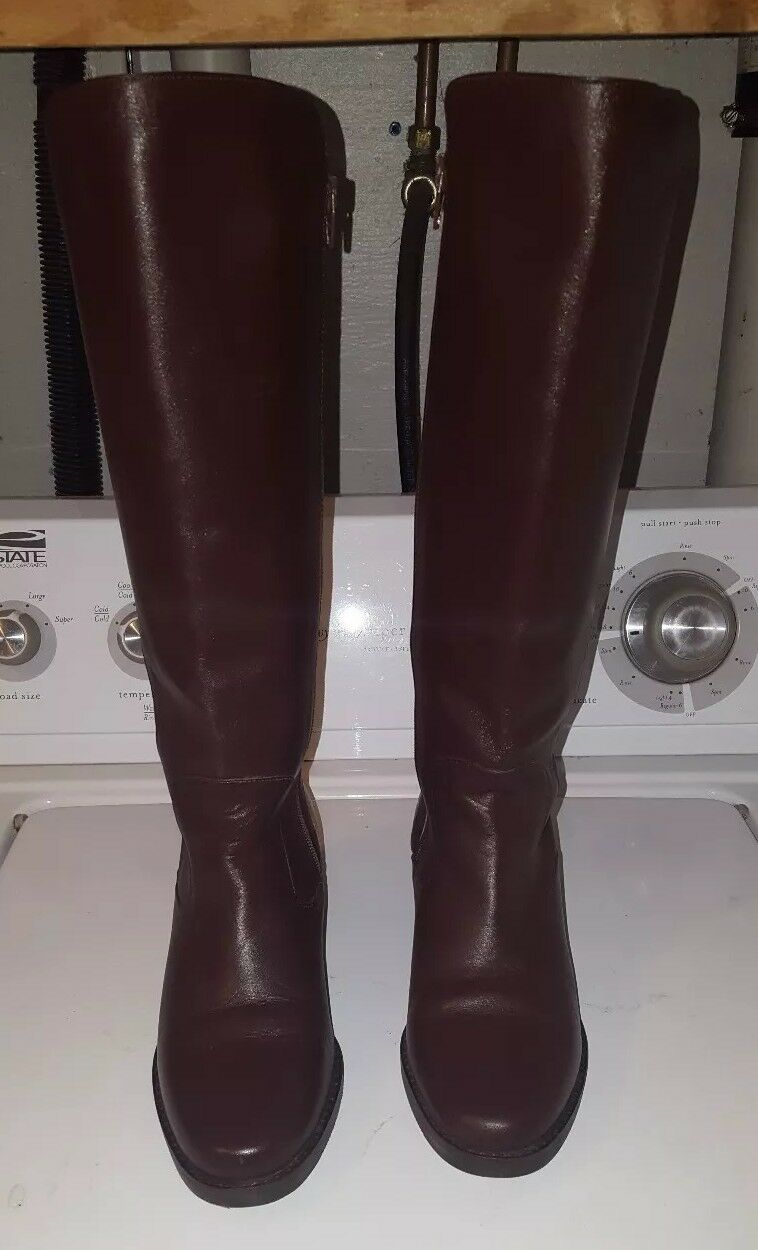 PAZZO Dark Brown Tall Leather Zip Up Boots Women's US Size 6.5 NWOT