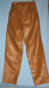 VINTAGE-MENS-COGNAC-LAMB-LEATHER-PANTS-S-30-BAGAZIO-INDIA-PURCHASED-1990