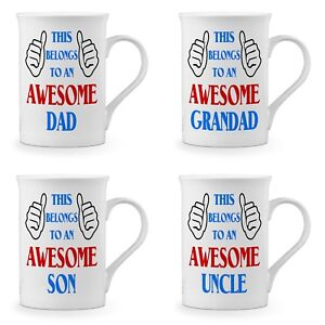 This Belongs To An Awesome... Novelty Gift Fine Bone China Mug - Blue/Red