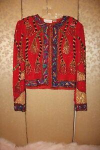 Rouge Veste Multicolore À M Pampilles Et Perles À Moyen Paillettes Noir Laurence Vert Kazar CwRUxU