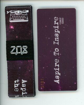 ZOX Silver Strap ASPIRE TO INSPIRE Wristband with Card Reversible
