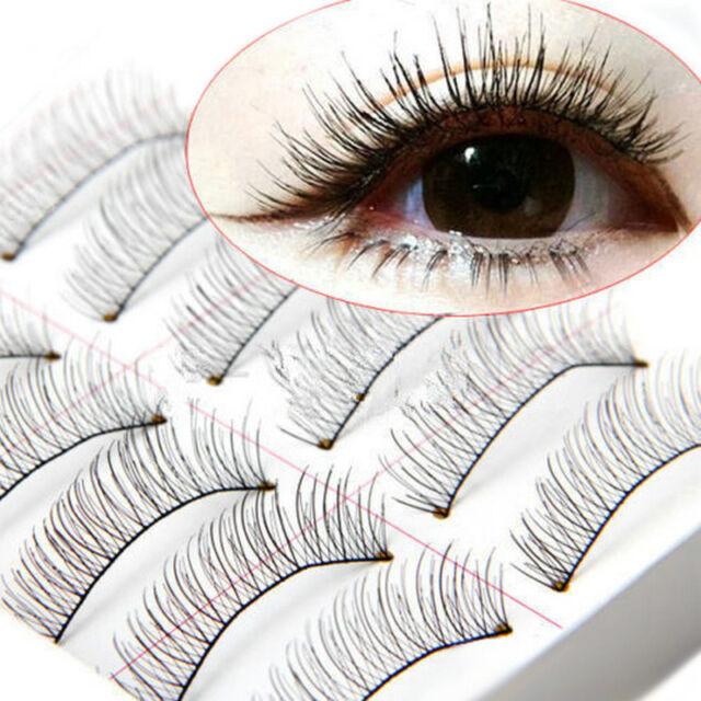 Soft 10 Pairs Natural Cross Handmade Eye Lashes Makeup Extension False Eyelashes