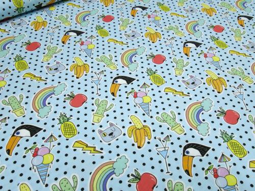 Stoff Baumwolle Jersey Regenbogen Ananas Eis Vögel Pünktchen blau bunt
