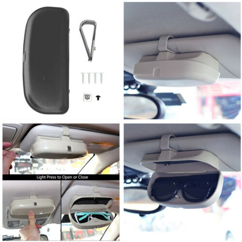 Black Sun Visor Shade Sunglasses Eyeglasses Case Holder Storage for Car Vehicle