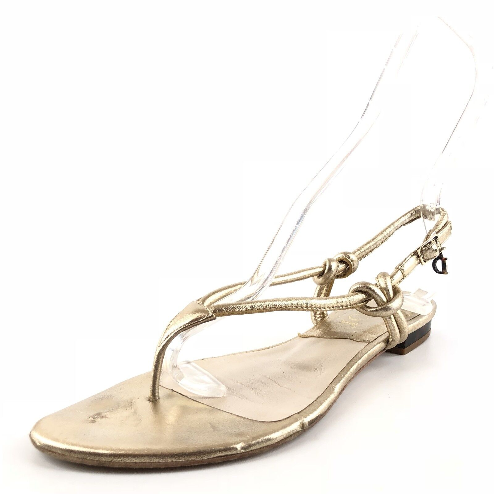 Christian Dior gold Leather Slingback Thong Sandals Flats Womens Size 37.5 M