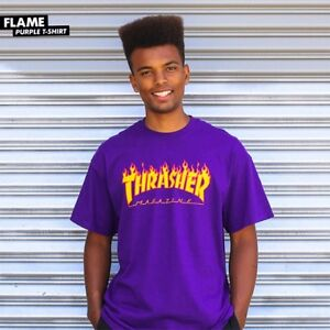 Thrasher-Magazine-FLAMES-LOGO-Skateboard-Shirt-PURPLE-XL