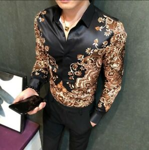 Mens-Button-Front-Slim-Fit-Casual-Tops-Printed-Floral-Long-Sleeve-Casual-T-shirt