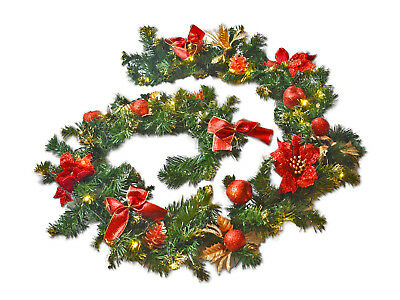1.8M Christmas Garland Pre Lit Decorated Bauble LED Light Outdoor Decoration UK