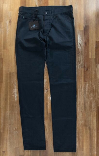 LANVIN trousers jean style petrol blue cotton Italy mens authentic Size 32 NWT