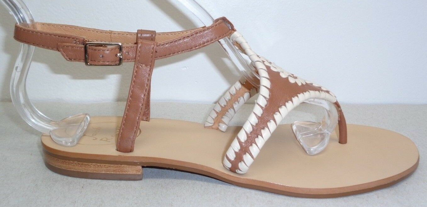 Jack Rogers Size 9.5 M MACI Cognac Bone Pelle Dress Sandals New Donna Shoes