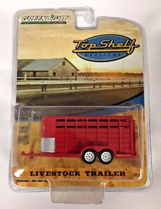 GREENLIGHT-TOP-SHELF-REPLICAS-RED-LIVESTOCK-Farm-TRAILER-HITCH-amp-TOW-1-64-NEW