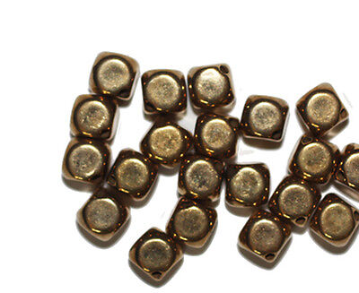 8mm Oval Melon Goldtone Old Gold Metalized Metallic Beads